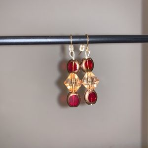 Sparkling Gold & Red Earring